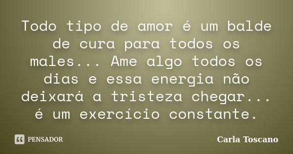 Todo tipo de amor é um balde de cura para todos os males... Ame algo todos os dias e essa energia não deixará a tristeza chegar... é um exercício constante.... Frase de Carla Toscano.