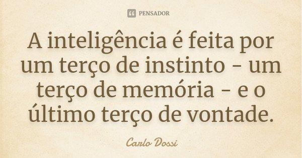 A inteligência é feita por um terço de instinto - um terço de memória - e o último terço de vontade.... Frase de Carlo Dossi.