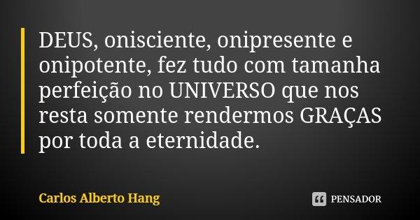 DEUS, onisciente, onipresente e onipotente, fez tudo com tamanha perfeição no UNIVERSO que nos resta somente rendermos GRAÇAS por toda a eternidade.... Frase de Carlos Alberto Hang.