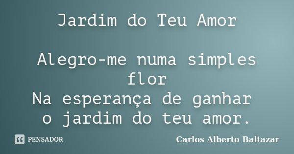 Jardim do Teu Amor Alegro-me numa simples flor Na esperança de ganhar o jardim do teu amor.... Frase de Carlos Alberto Baltazar.