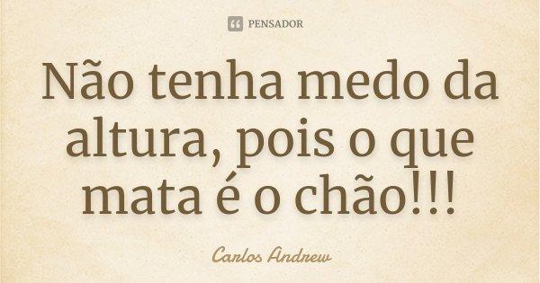 Não tenha medo da altura, pois o que mata é o chão!!!... Frase de Carlos Andrew.