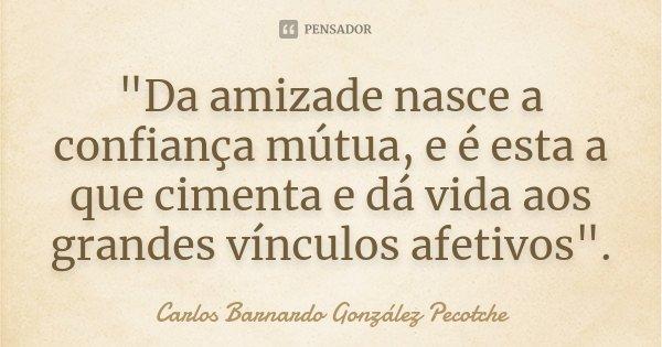 """""""Da amizade nasce a confiança mútua, e é esta a que cimenta e dá vida aos grandes vínculos afetivos"""".... Frase de Carlos Barnardo González Pecotche."""