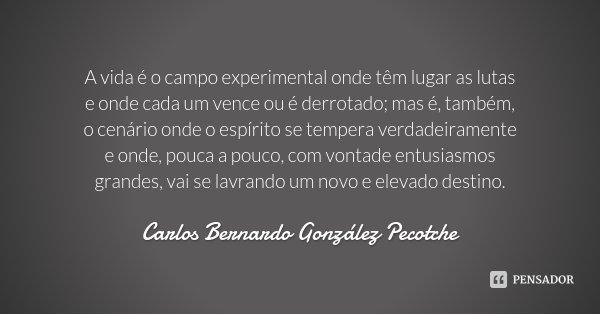 A vida é o campo experimental onde têm lugar as lutas e onde cada um vence ou é derrotado; mas é, também, o cenário onde o espírito se tempera verdadeiramente e... Frase de Carlos Bernardo González Pecotche.