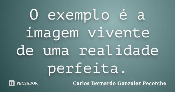 O exemplo é a imagem vivente de uma realidade perfeita.... Frase de Carlos Bernardo González Pecotche.