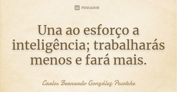 Una ao esforço a inteligência; trabalharás menos e fará mais.... Frase de Carlos Bernardo González Pecotche.