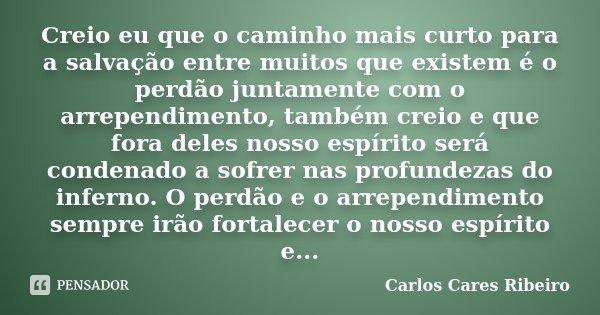 Creio eu que o caminho mais curto para a salvação entre muitos que existem é o perdão juntamente com o arrependimento, também creio e que fora deles nosso espír... Frase de Carlos Cares Ribeiro.