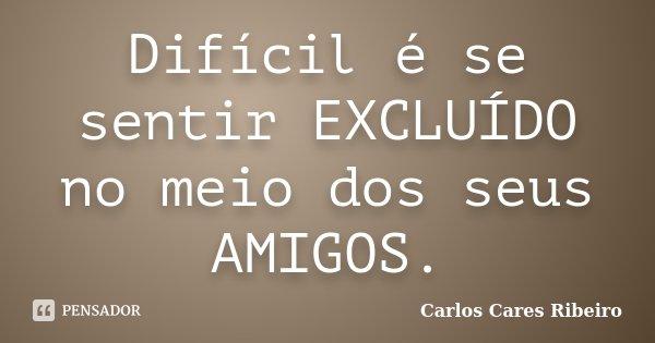Difícil é se sentir EXCLUÍDO no meio dos seus AMIGOS.... Frase de Carlos Cares Ribeiro.