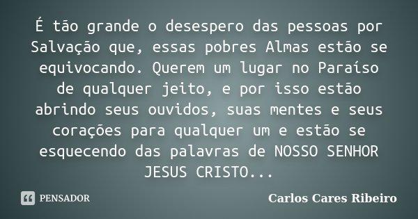 É tão grande o desespero das pessoas por Salvação que, essas pobres Almas estão se equivocando. Querem um lugar no Paraíso de qualquer jeito, e por isso estão a... Frase de Carlos Cares Ribeiro.