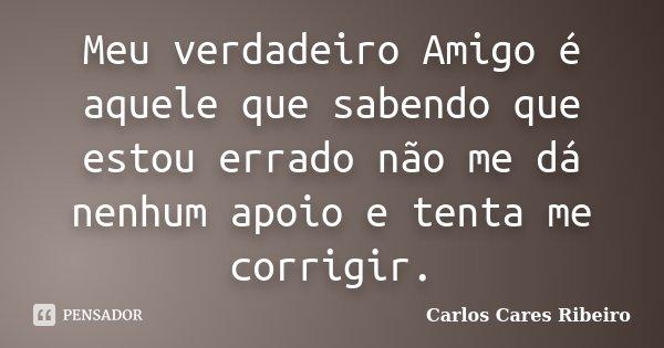Meu verdadeiro Amigo é aquele que sabendo que estou errado não me dá nenhum apoio e tenta me corrigir.... Frase de Carlos Cares Ribeiro.