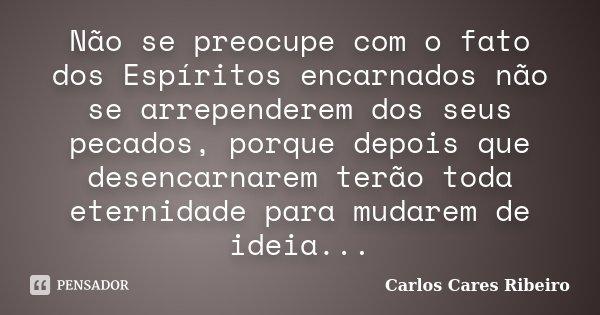 Não se preocupe com o fato dos Espíritos encarnados não se arrependerem dos seus pecados, porque depois que desencarnarem terão toda eternidade para mudarem de ... Frase de Carlos Cares Ribeiro.
