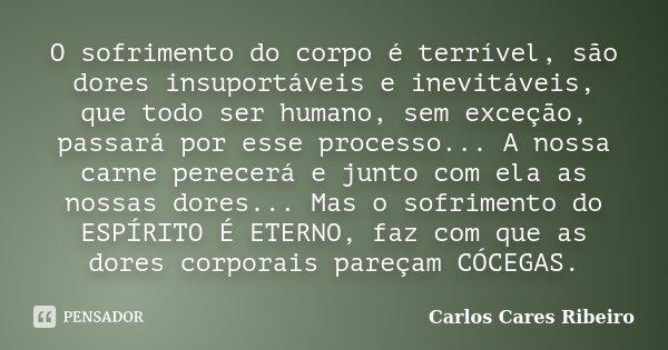 O sofrimento do corpo é terrível, são dores insuportáveis e inevitáveis, que todo ser humano, sem exceção, passará por esse processo... A nossa carne perecerá e... Frase de Carlos Cares Ribeiro.