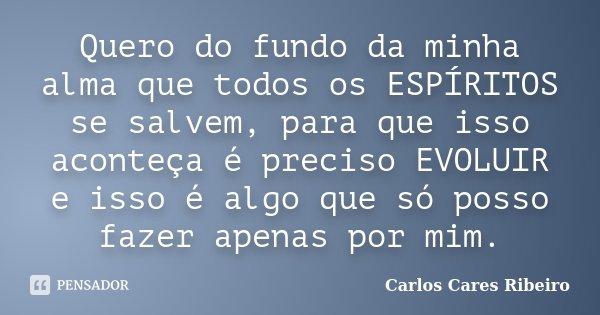 Quero do fundo da minha alma que todos os ESPÍRITOS se salvem, para que isso aconteça é preciso EVOLUIR e isso é algo que só posso fazer apenas por mim.... Frase de Carlos Cares Ribeiro.