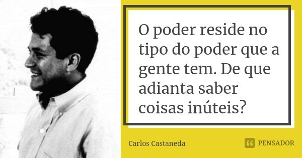 O poder reside no tipo do poder que a gente tem. De que adianta saber coisas inúteis?... Frase de Carlos Castaneda.