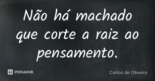 Não há machado que corte a raiz ao pensamento.... Frase de Carlos de Oliveira.