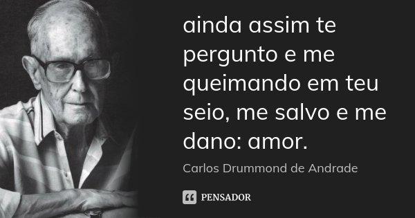 ainda assim te pergunto e me queimando em teu seio, me salvo e me dano: amor.... Frase de Carlos Drummond de Andrade.
