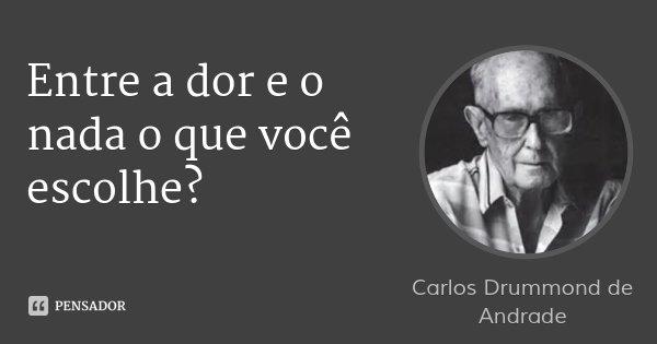 Entre a dor e o nada o que você escolhe?... Frase de Carlos Drummond de Andrade.