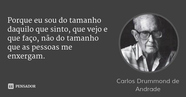 Porque eu sou do tamanho daquilo que sinto, que vejo e que faço, não do tamanho que as pessoas me enxergam.... Frase de Carlos Drummond de Andrade.