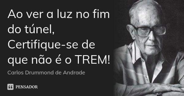 Ao ver a luz no fim do túnel, Certifique-se de que não é o TREM!... Frase de Carlos Drummond de Andrade.