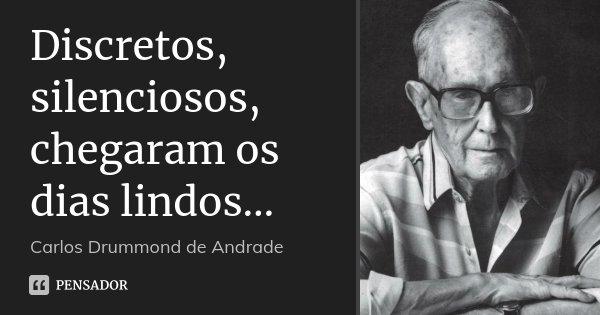 Discretos, silenciosos, chegaram os dias lindos…... Frase de Carlos Drummond de Andrade.