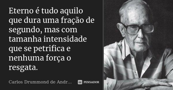 Eterno é tudo aquilo que dura uma fração de segundo, mas com tamanha intensidade que se petrifica e nenhuma força o resgata.... Frase de Carlos Drummond de Andrade.