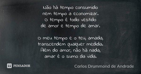 Não Há Tempo Consumido Nem Tempo A Carlos Drummond De Andrade