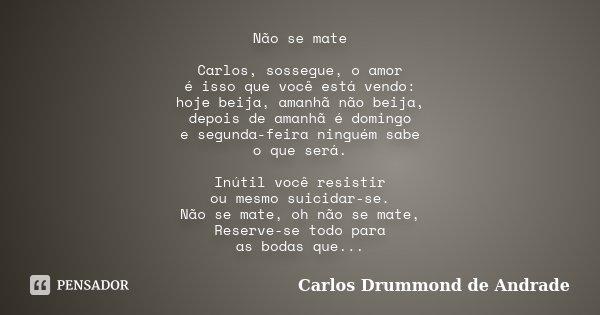 Não se mate Carlos, sossegue, o amor é isso que você está vendo: hoje beija, amanhã não beija, depois de amanhã é domingo e segunda-feira ninguém sabe o que ser... Frase de Carlos Drummond de Andrade.