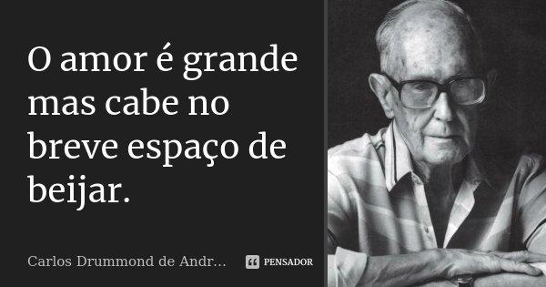 O amor é grande mas cabe no breve espaço de beijar.... Frase de Carlos Drummond de Andrade.