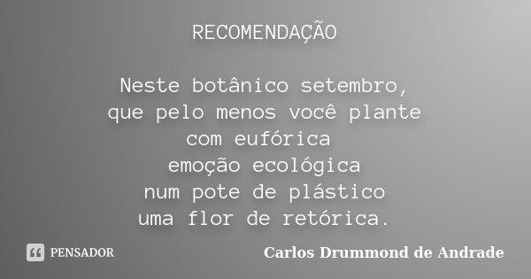 RECOMENDAÇÃO Neste botânico setembro, que pelo menos você plante com eufórica emoção ecológica num pote de plástico uma flor de retórica.... Frase de Carlos Drummond de Andrade.