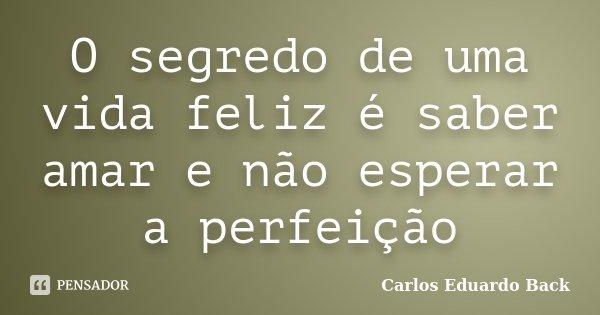 O segredo de uma vida feliz é saber amar e não esperar a perfeição... Frase de Carlos Eduardo Back.