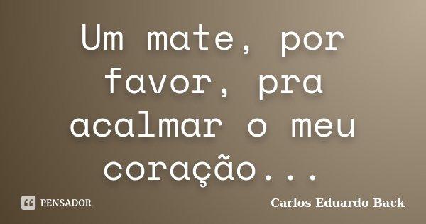 Um Mate Por Favor Pra Acalmar O Meu Carlos Eduardo Back