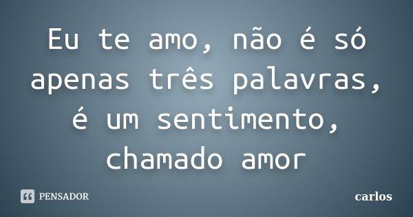 Eu te amo, não é só apenas três palavras, é um sentimento, chamado amor... Frase de Carlos.