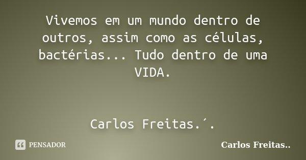 Vivemos em um mundo dentro de outros, assim como as células, bactérias... Tudo dentro de uma VIDA. Carlos Freitas.´.... Frase de Carlos Freitas...