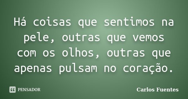 Há coisas que sentimos na pele, outras que vemos com os olhos, outras que apenas pulsam no coração.... Frase de Carlos Fuentes.