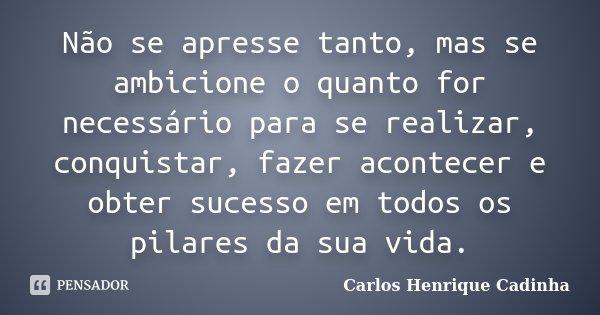 Não se apresse tanto, mas se ambicione o quanto for necessário para se realizar, conquistar, fazer acontecer e obter sucesso em todos os pilares da sua vida.... Frase de Carlos Henrique Cadinha.