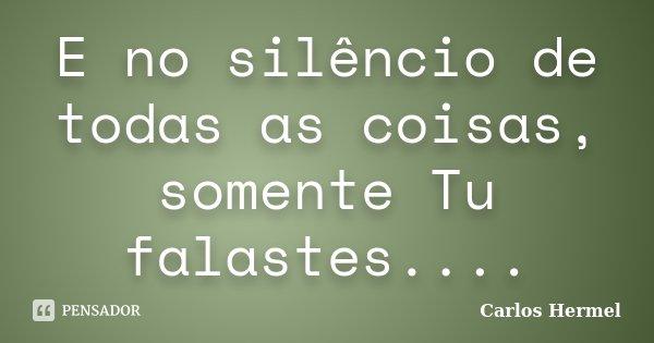 E no silêncio de todas as coisas, somente Tu falastes....... Frase de Carlos Hermel.