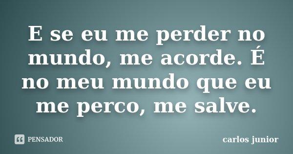 E se eu me perder no mundo, me acorde. É no meu mundo que eu me perco, me salve.... Frase de Carlos Júnior.