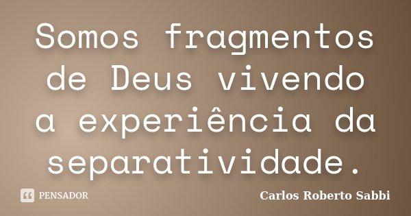 Somos fragmentos de Deus vivendo a experiência da separatividade.... Frase de Carlos Roberto Sabbi.