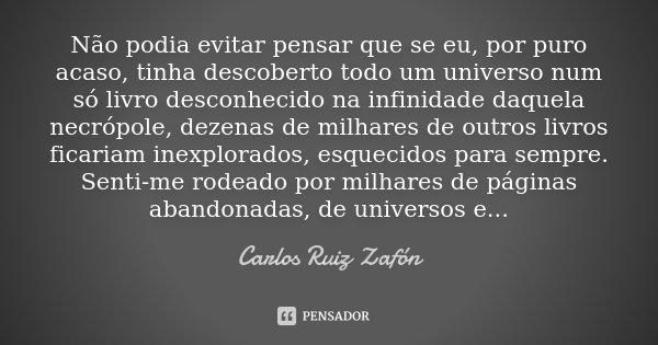 Não podia evitar pensar que se eu, por puro acaso, tinha descoberto todo um universo num só livro desconhecido na infinidade daquela necrópole, dezenas de milha... Frase de Carlos Ruiz Zafón.