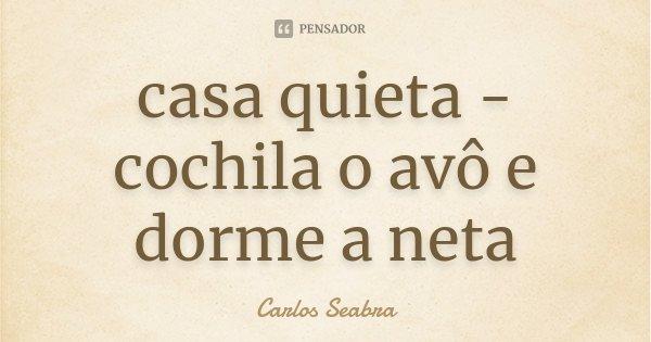 casa quieta - cochila o avô e dorme a neta... Frase de Carlos Seabra.