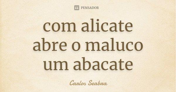 com alicate abre o maluco um abacate... Frase de Carlos Seabra.
