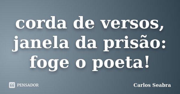 corda de versos, janela da prisão: foge o poeta!... Frase de Carlos Seabra.