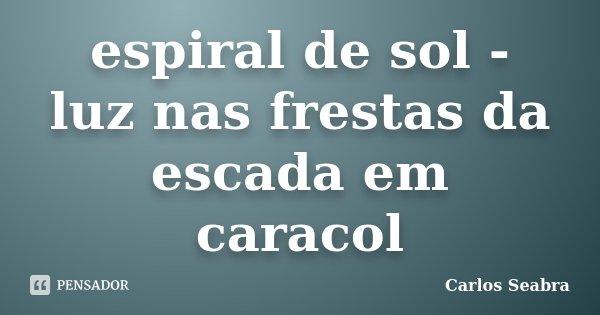 espiral de sol - luz nas frestas da escada em caracol... Frase de Carlos Seabra.