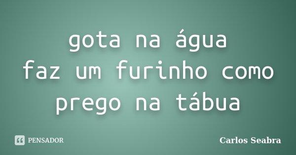 gota na água faz um furinho como prego na tábua... Frase de Carlos Seabra.