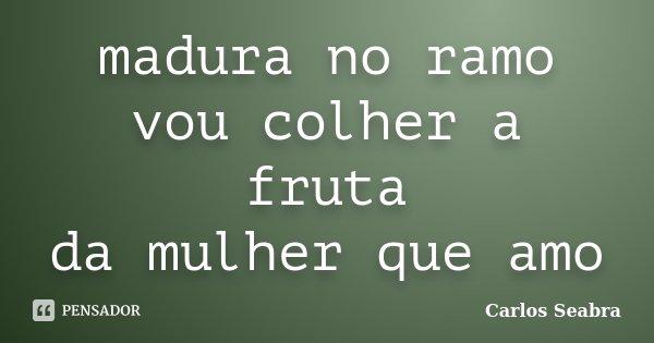 madura no ramo vou colher a fruta da mulher que amo... Frase de Carlos Seabra.