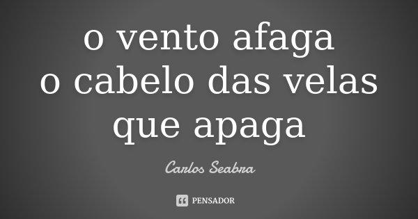 o vento afaga o cabelo das velas que apaga... Frase de Carlos Seabra.