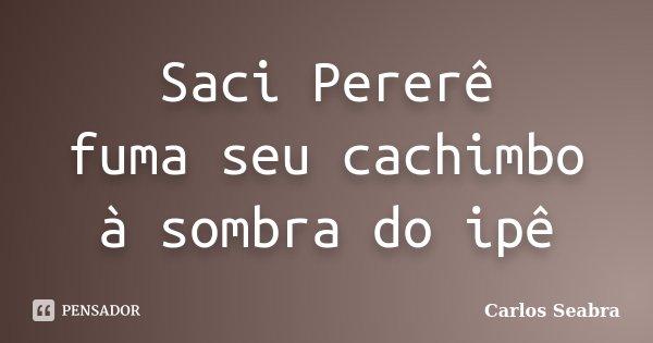 Saci Pererê fuma seu cachimbo à sombra do ipê... Frase de Carlos Seabra.