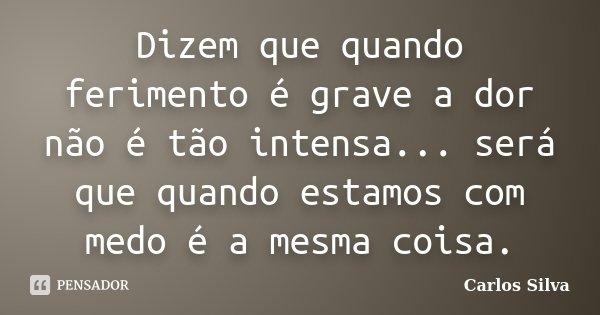 Dizem que quando ferimento é grave a dor não é tão intensa... será que quando estamos com medo é a mesma coisa.... Frase de Carlos Silva.