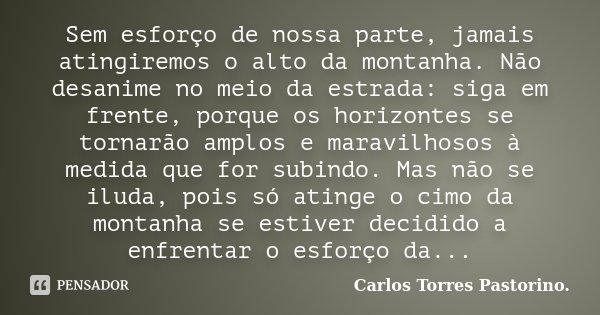 Sem esforço de nossa parte, jamais atingiremos o alto da montanha. Não desanime no meio da estrada: siga em frente, porque os horizontes se tornarão amplos e ma... Frase de Carlos Torres Pastorino.