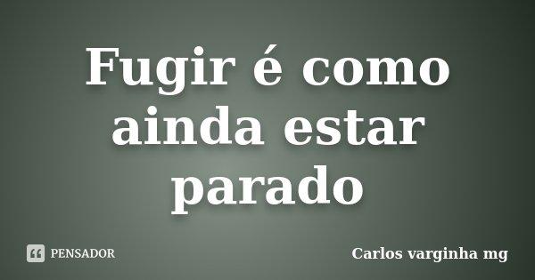 Fugir é como ainda estar parado... Frase de Carlos Varginha mg.