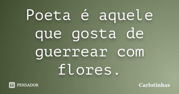 Poeta é aquele que gosta de guerrear com flores.... Frase de Carlotinhas.